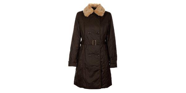 Dámsky tmavo hnedý zimný kabát Timeout