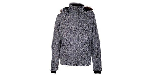 Dámska čierna zimná bunda Trimm Nessa s kožúškom a potlačou