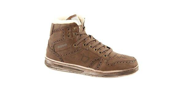 Pánske kávové kožené zimné topánky Dude