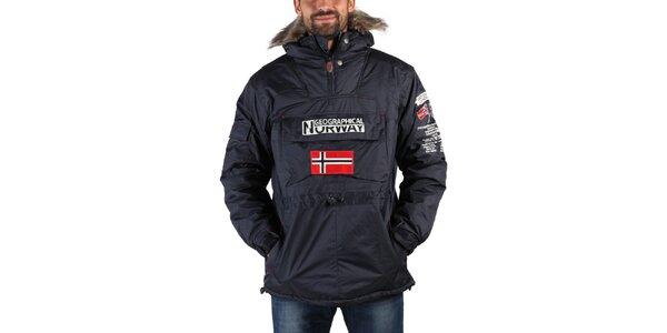 Pánska tmavo modrá zimná bunda s kožúškom a norskou vlajkou Geographical Norway
