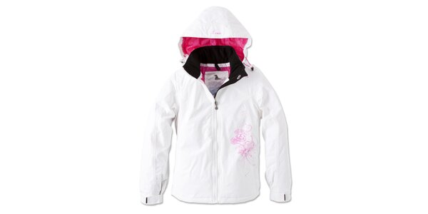 Dámska biela zimná bunda s kvetinkou Brunotti