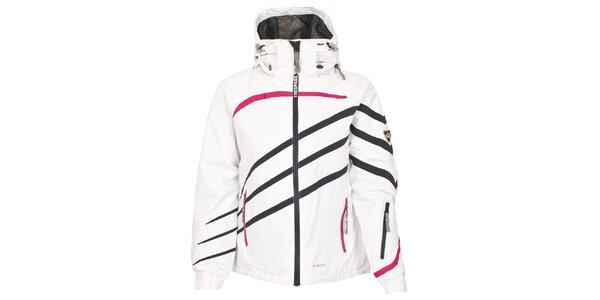 Dámska biela lyžiarska bunda s prúžkami Trespass