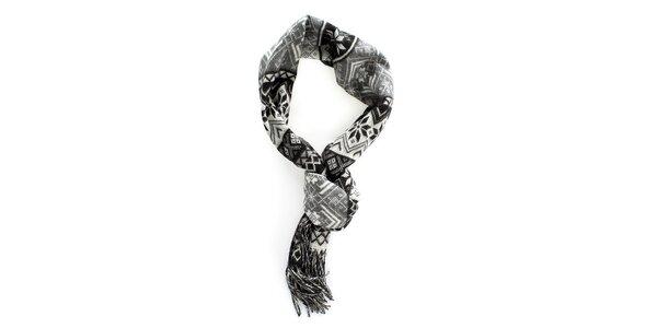 Šedo-čierny šál s nórskym vzorom Fraas