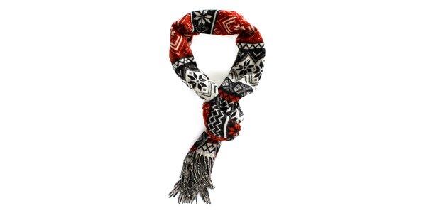 Červeno-čierny šál s norským vzorom Fraas