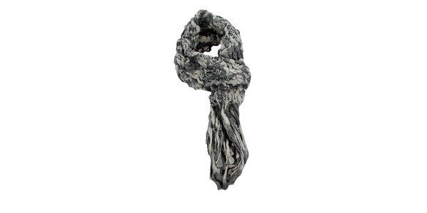 Dámsky šedobiely pletený šál Timeout