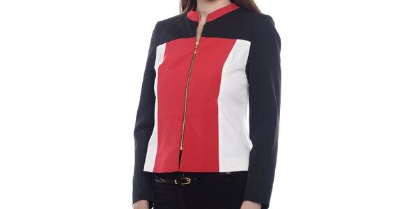 Dámska čierno-bielo-červená bundička Vera Ravenna