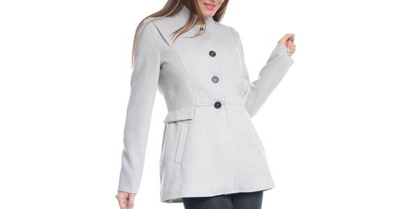 Dámsky svetlo šedý krátky kabát Vera Ravenna