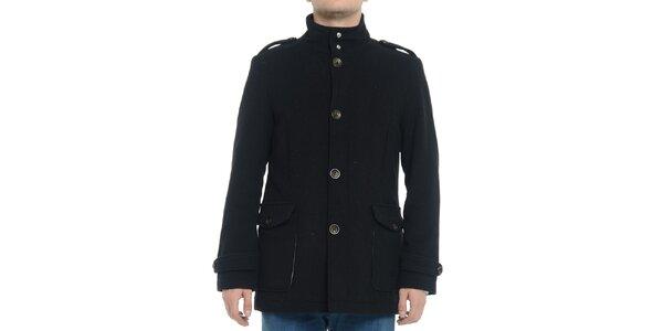 Pánsky čierny kabát s gombíkmi Vera Ravenna