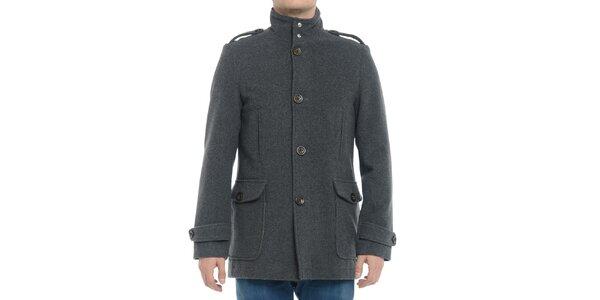 Pánsky šedý kabát s gombíkmi Vera Ravenna
