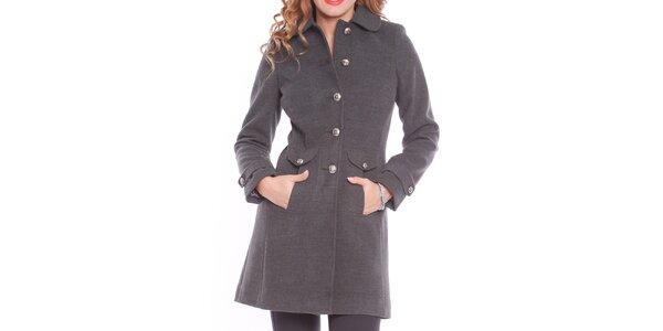 Dámsky šedý kabát s vreckami Vera Ravenna