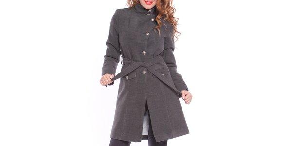 Dámsky šedý zaväzovací kabát Vera Ravenna