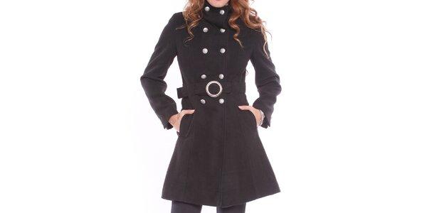 Dámsky čierny kabát so sponou Vera Ravenna
