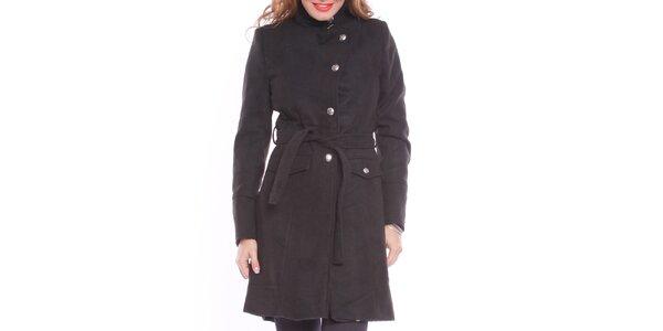 Dámsky čierny zaväzovací kabát s podšívkou Vera Ravenna