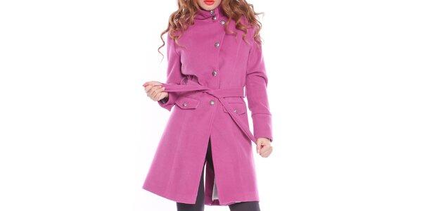 Dámsky fialový zaväzovací kabát s podšívkou Vera Ravenna