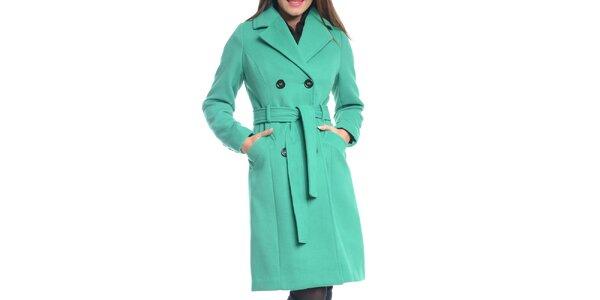 Dámsky zelený kabát s opaskom Vera Ravenna