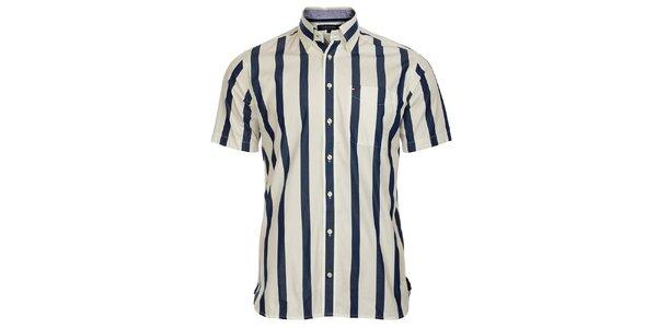 Pánska modro-biela prúžkovaná košeľa Tommy Hilfiger