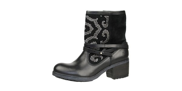 Dámske čierne členkové topánky so striebornými kamienkami Bullboxer