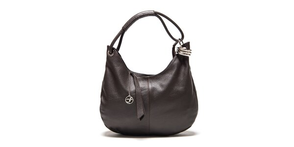 Dámska tmavo hnedá kožená kabelka s kovovou ozdobou Carla Ferreri 5f33b940a35