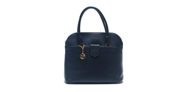Dámska modrá kožená kabelka s retiazkou Carla Ferreri