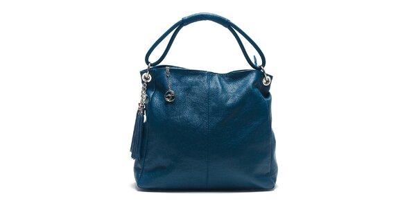 Dámska modrá kožená kabelka s ozdobnými strapcami Carla Ferreri