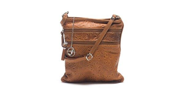 Dámska koňakovo hnedá kožená taška so vzorom Carla Ferreri