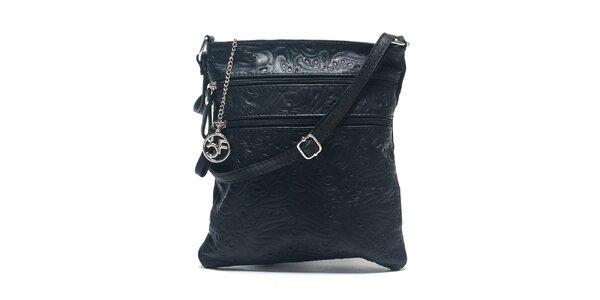 Dámska čierna kožená taška so vzorom Carla Ferreri