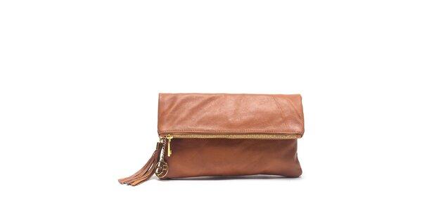 Dámska koňakovo hnedá kožená kabelka do ruky Carla Ferreri