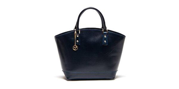 Dámska tmavo modrá kožená kabelka Carla Ferreri
