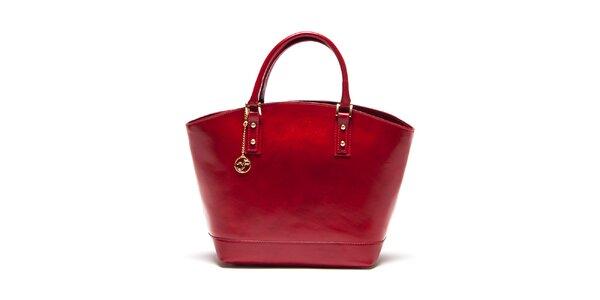 Dámska karmínovo červená kožená kabelka Carla Ferreri