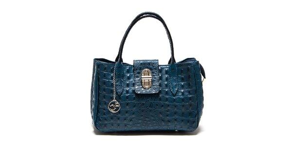 Dámska modrá kožená kabelka s krokodílim vzorom Carla Ferreri