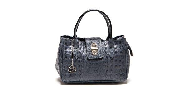 Dámska šedá kožená kabelka s krokodílim vzorom Carla Ferreri