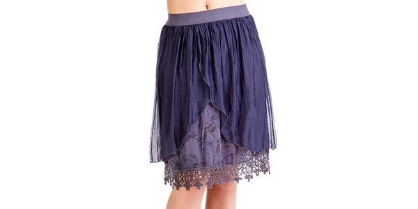 Dámska modrá vrstvená sukňa z hodvábu Keysha