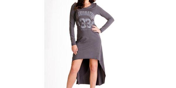 Dámske antracitové šaty s dlhým rukávom Keysha