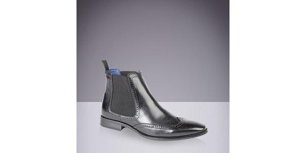 Pánske kožené chelsea topánky v čiernej farbe Route21