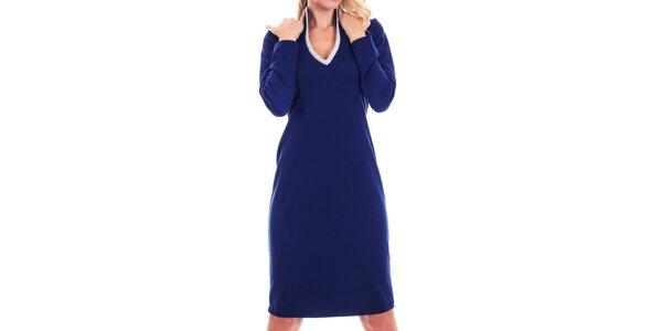 Dámske modré šaty so strieborno lemovaným výstrihom Berry Couture