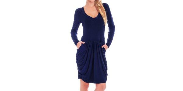 Dámske tmavo modré šaty s dlhým rukávom Berry Couture