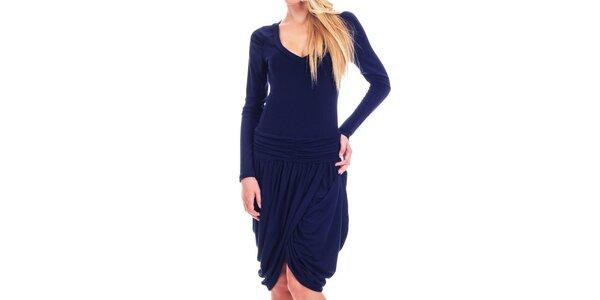 Dámske tmavo modré šaty s tulipánovou sukňou Berry Couture
