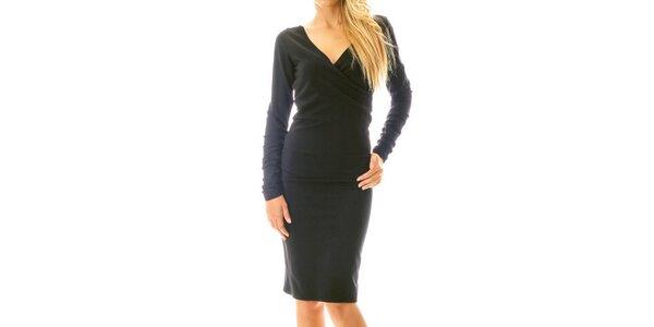 Dámske čierne šaty s efektným riasením Berry Couture