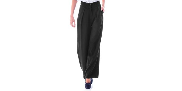 Dámske čierne nohavice so širokými nohavicami Berry Couture