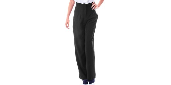 Dámske čierne nohavice s vysokým pásom Berry Couture
