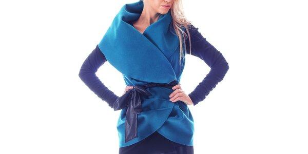 Dámska modrá vesta so stuhou Berry Couture