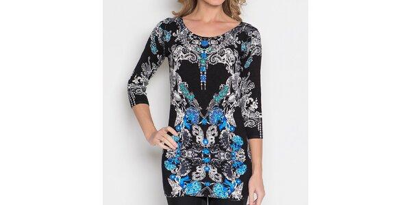 Dámska čierna tunika s modro-bielym vzorom Imagini