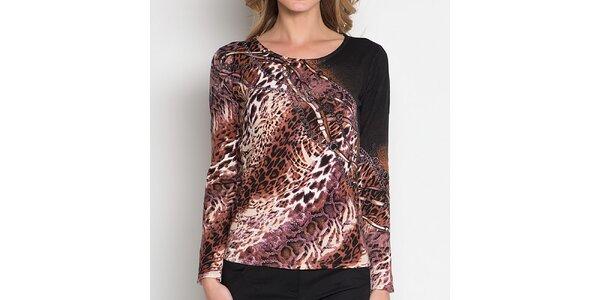 Dámske hnedé tričko so zvieracím vzorom Imagini