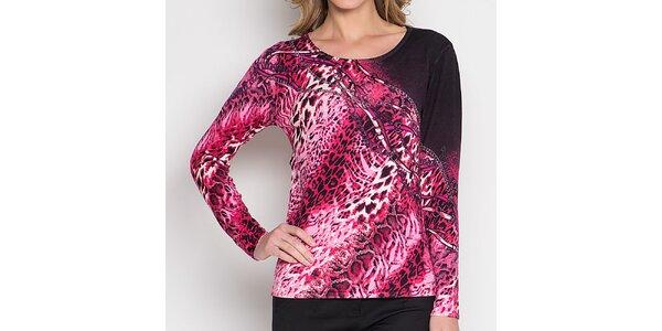 Dámske fuchsiové tričko so zvieracím vzorom Imagini