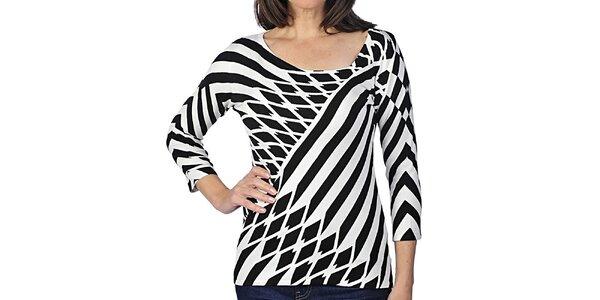 Dámske tričko s čierno-bielym geometrickým vzorom Imagini
