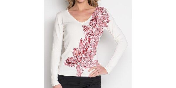 Dámske biele tričko s červeným kvetinovým pruhom Imagini