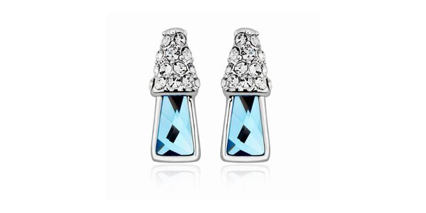 Dámske náušnice s bielymi a modrými kryštáľmi Mileyna Accesories