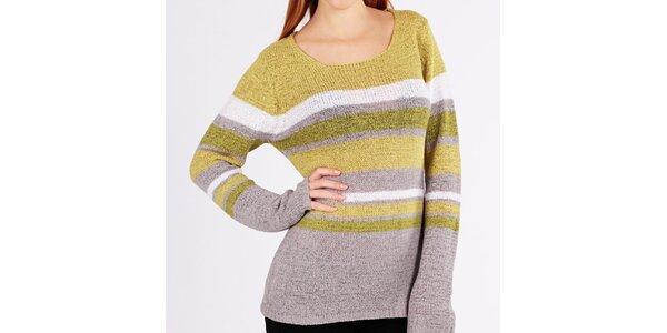 Dámsky žlto-šedý pruhovaný sveter Emma Pernelle