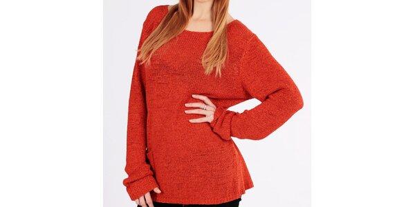 Dámsky oranžový voľný sveter s vreckom Emma Pernelle