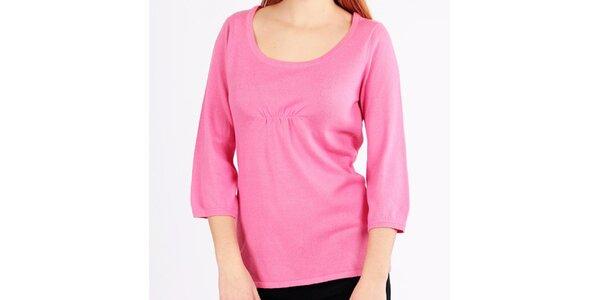 Dámsky ružový sveter s trojštvrťovými rukávmi Emma Pernelle